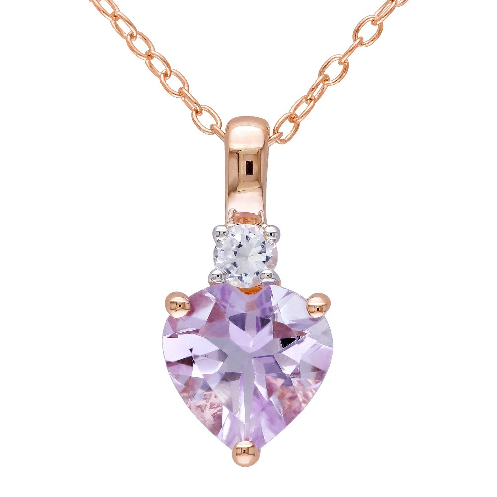 Image of 1.65 CT. T.W. Rose de France and .15 CT. T.W. Simulated Sapphire Necklace Pink Rhodium Plated Silver - Purple, Women's