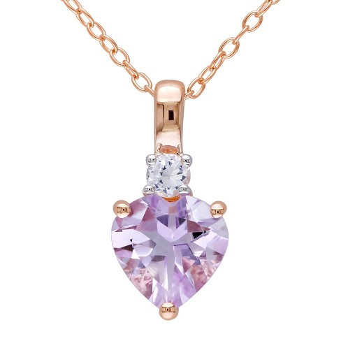 1.65 CT. T.W. Rose de France and .15 CT. T.W. Simulated Sapphire Necklace Pink Rhodium Plated Silver - Purple - image 1 of 2