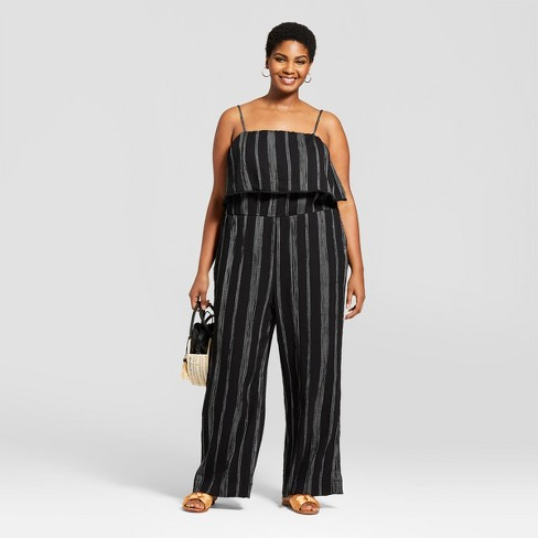 Womens Plus Size Striped Jumpsuit A New Day Blackwhite 3x
