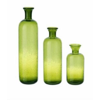 "Raz Imports Set of 3 Translucent Glass Table Top Bottle Bud Vases 16.5"" - Green"