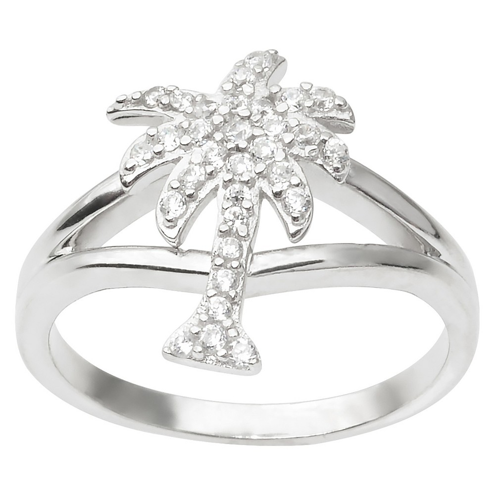 4/5 CT. T.W. Round Cut CZ Pave Set Palm Tree Ring in Sterling Silver - Silver (7)