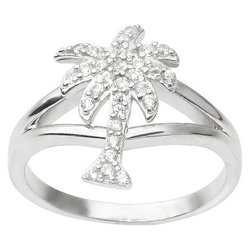 4/5 CT. T.W. Round Cut CZ Pave Set Palm Tree Ring in Sterling Silver - Silver - image 1 of 2