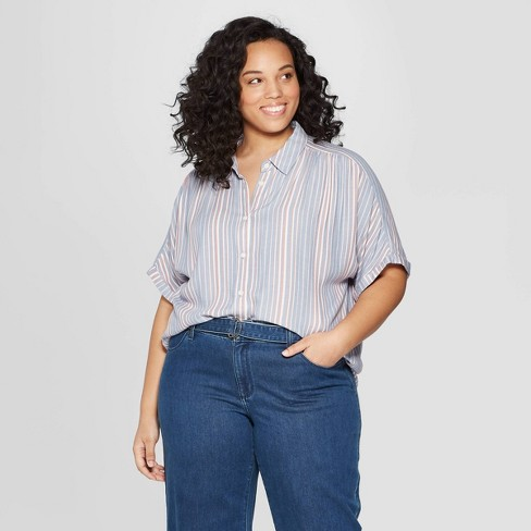 Women's Plus Size Striped Short Sleeve Camp Shirt - Universal Thread™ Blue - image 1 of 3