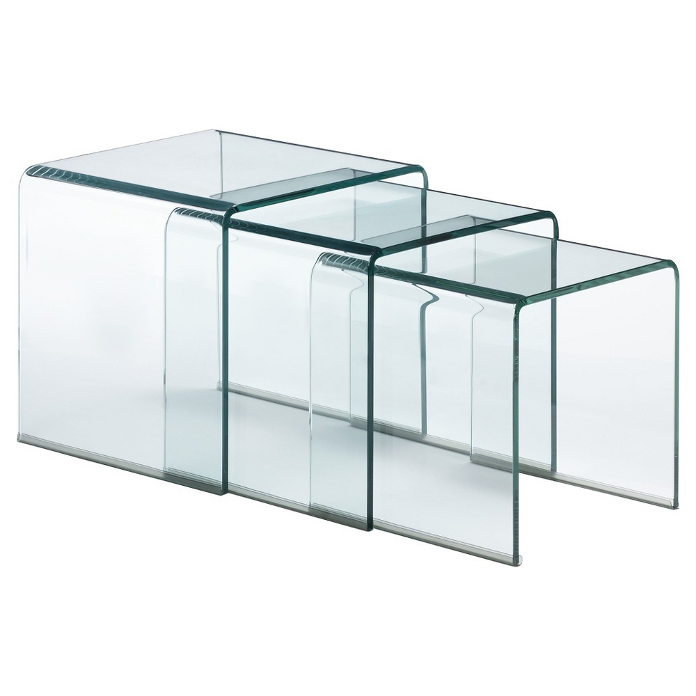 Modern Tempered Glass 16 Square Nesting Table - Clear - ZM Home