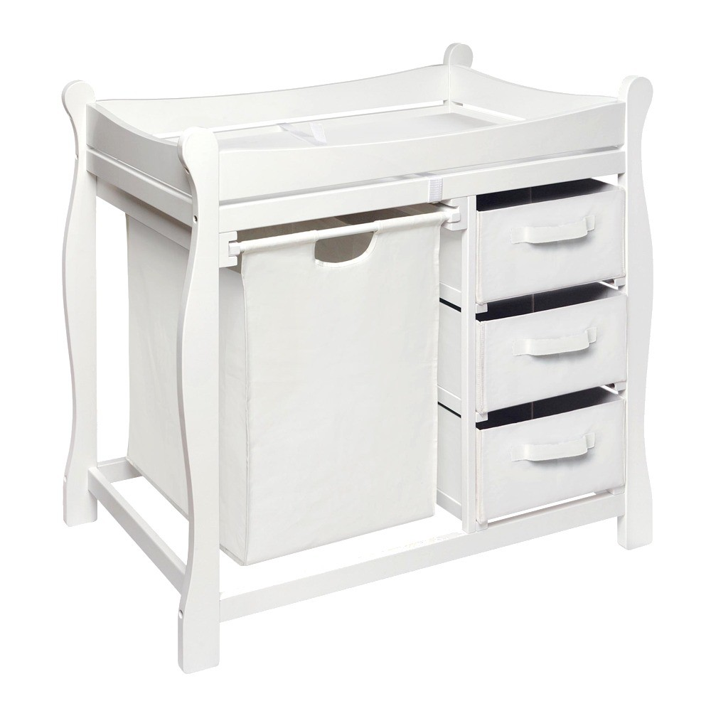 Image of Badger Basket Changing Table with Hamper and Baskets - White