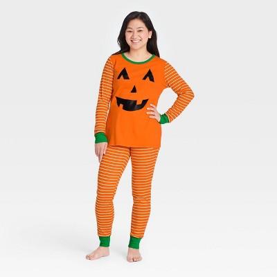 Women's Halloween Pumpkin Matching Family Pajama Set - Orange