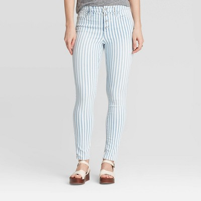 Women's High-Rise Striped Skinny Ankle Jeans - Universal Thread™ Light Blue