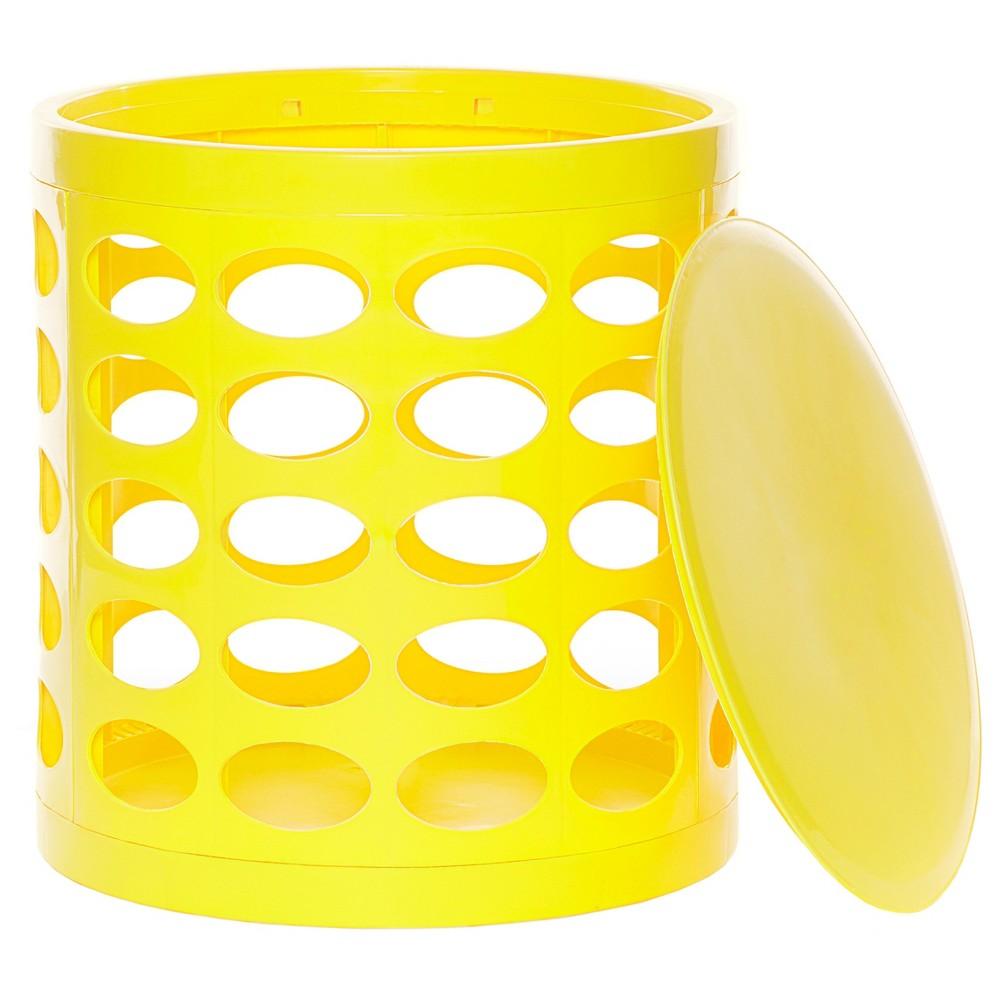 Image of GitaDini Storage Ottoman - Perforated Yellow