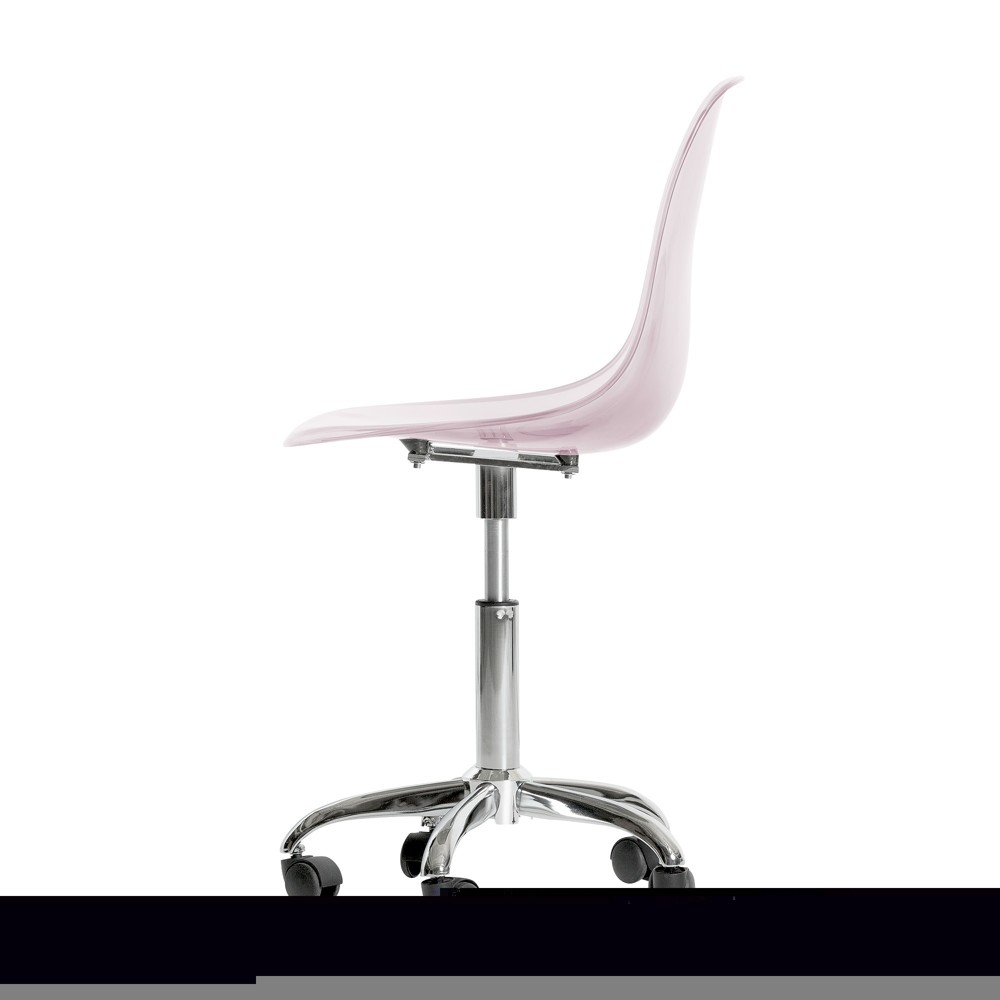 Annexe Acrylic Office Chair With Wheels Clear Pink Blush - South Shore