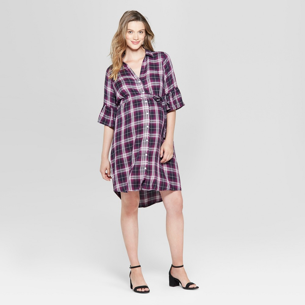 Maternity Plaid Bell Sleeve Woven Tie Waist Shirtdress - Isabel Maternity by Ingrid & Isabel Navy L, Infant Girl's, Blue