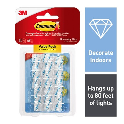 Command Clear Decorating Clips with Clear Strips Value Pack (40 Clips 48 Strips)
