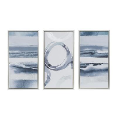 "(Set of 3) 16.5"" x 31.5"" Surrounding Gel Coat Frame Canvas Wall Art Set Gray"