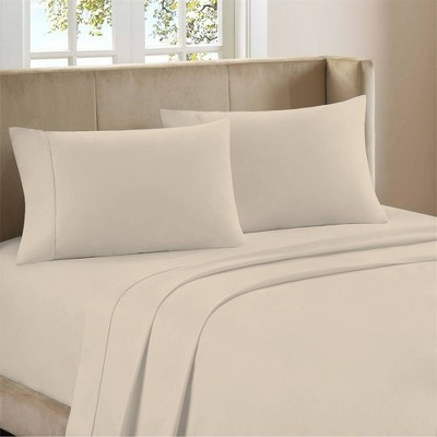 Queen 400 Thread Count Ultimate Percale Cotton Solid Sheet Set Ivory - Purity Home