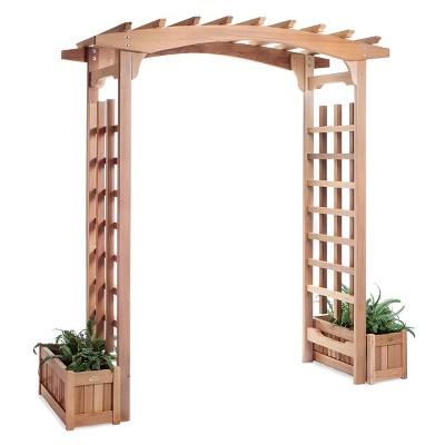 All Things Cedar PA96 Backyard Garden Wooden Traditional Archway Pagoda Arbor