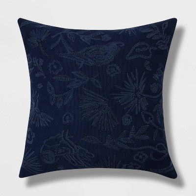 Oversized Embroidered Bird and Botanical Pattern Square Throw Pillow Navy - Opalhouse™