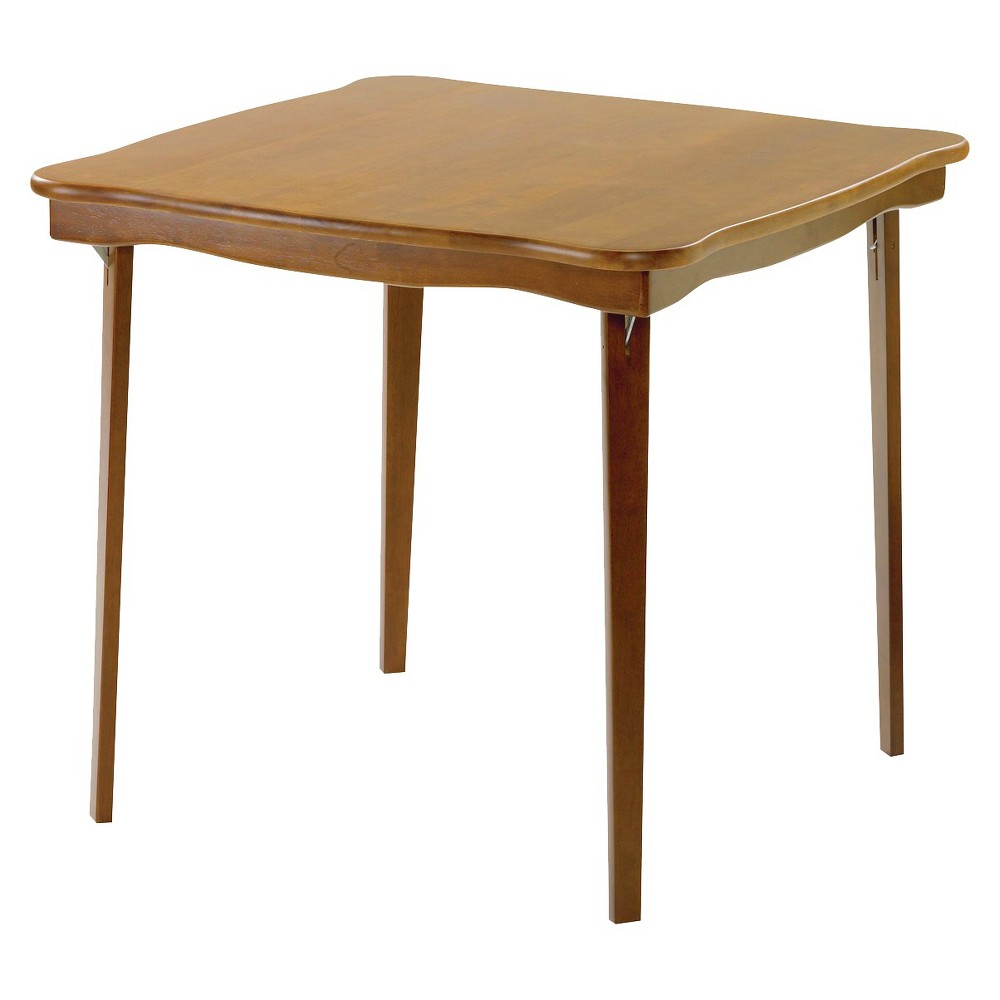 Image of Scalloped Edge Folding Card Table Fruitwood - Stakmore
