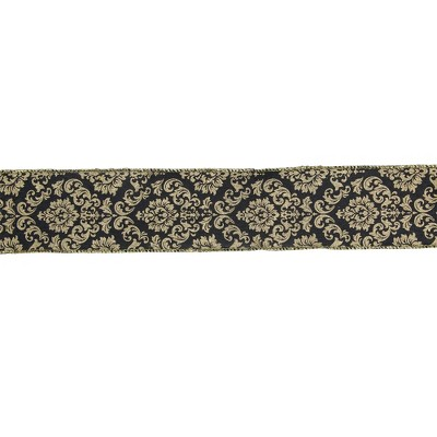 """Northlight Black and Gold Damask Christmas Wired Craft Ribbon 2.5"""" x 16 Yards"""