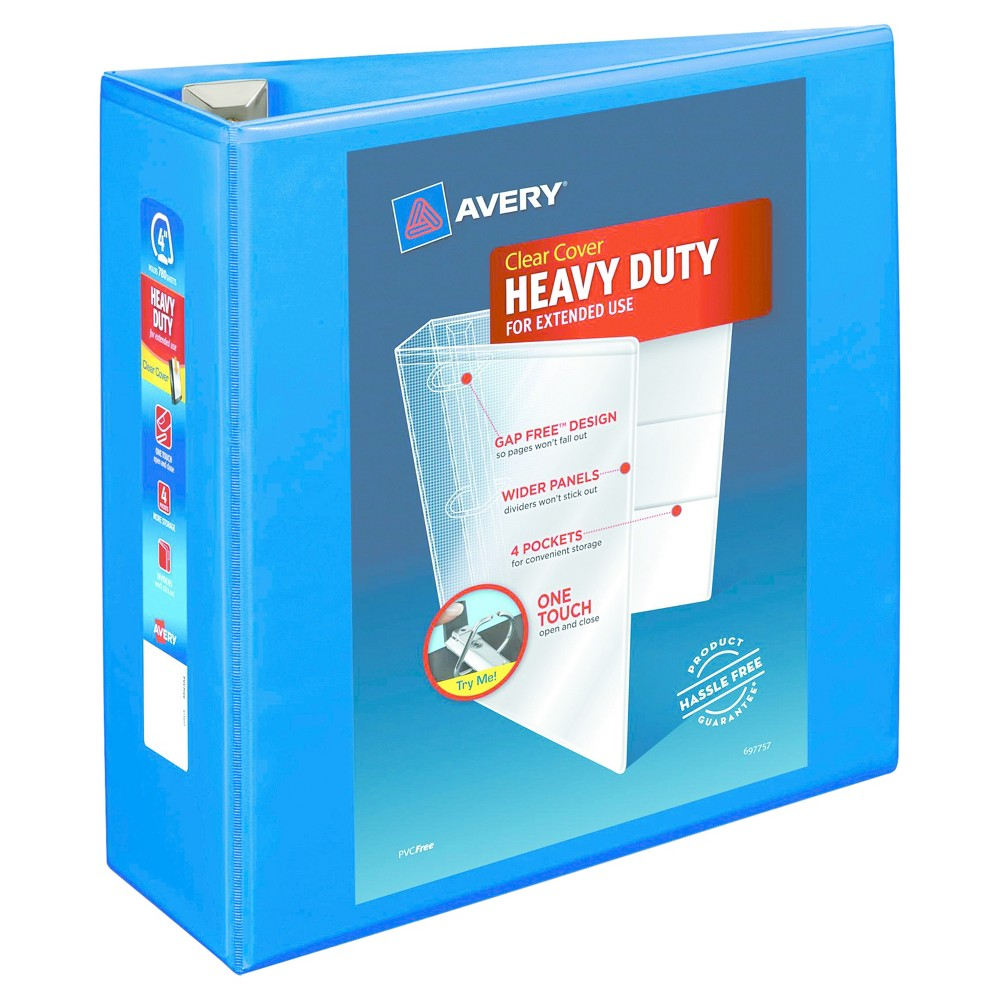 "Image of ""Avery Heavy-Duty View Binder with Locking EZD Rings, 4"""" Cap, Pacific Blue"""