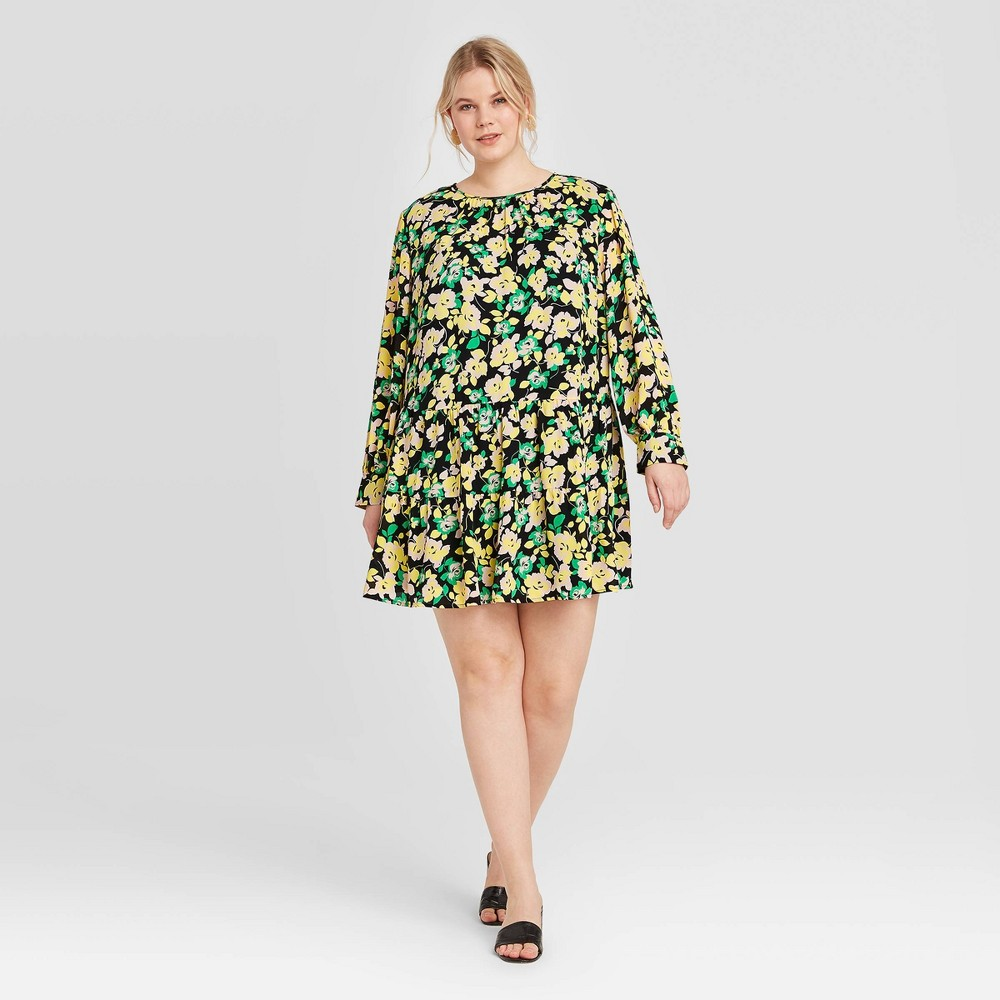 Women's Plus Size Floral Print Long Sleeve Dress - Who What Wear 3X, MultiColored was $34.99 now $24.49 (30.0% off)