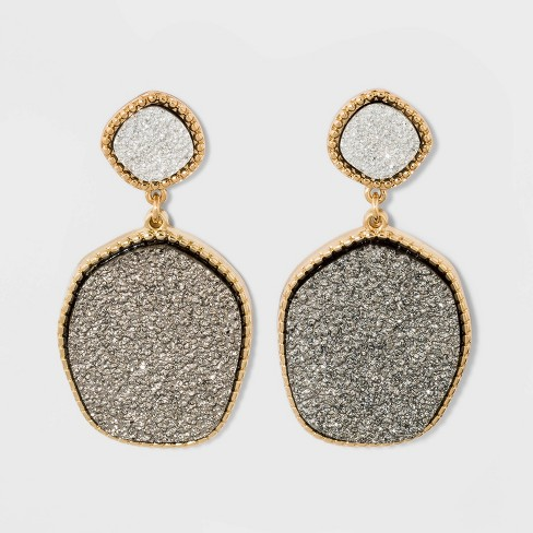 8866b69dc5fa7 SUGARFIX By BaubleBar Two-Tone Druzy Drop Earrings - Dark Silver ...