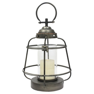 Stonebriar Industrial Metal Hurricane Candle Lantern, Small