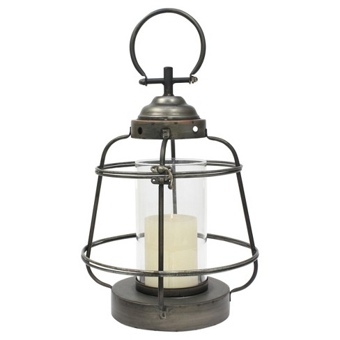 Stonebriar Industrial Metal Hurricane Candle Lantern, Small - image 1 of 4