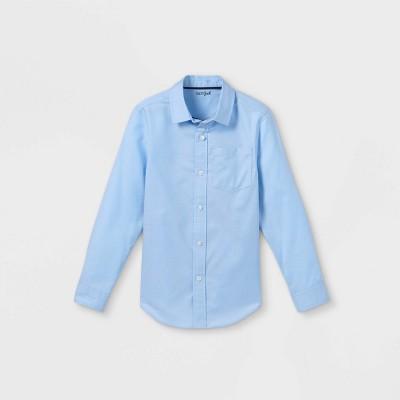 Boys' Button-Down Stretch Oxford Long Sleeve Shirt - Cat & Jack™ Blue