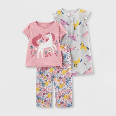 Toddler Girls' 3pc All Door Horse Pajama Set - Just One You® made by carter's Pink 12M