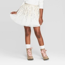 Girls' Sequin Skirt - Cat & Jack™ Cream