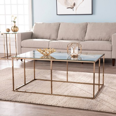 Nicholas Contemporary Glass Top Cocktail Table Champagne - Aiden Lane