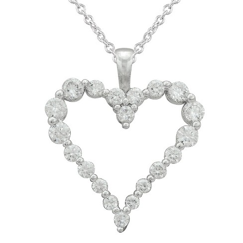 Women's Silver Plated Cubic Zirconia Open Heart Pendant - image 1 of 1