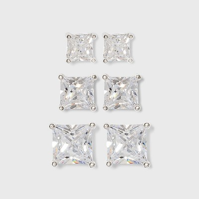 Women's Sterling Silver Stud or Square Cubic Zirconia Earring Set 3pc - Silver
