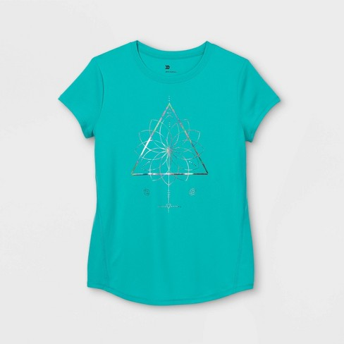 Girls' Short Sleeve Floral Graphic T-Shirt - All in Motion™ Green - image 1 of 2