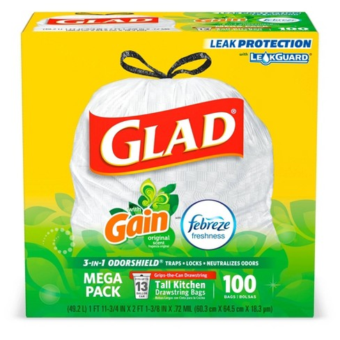 Glad OdorShield Tall Kitchen Drawstring Trash Bags - Gain Original with Febreze Freshness - 13 Gallon - image 1 of 4