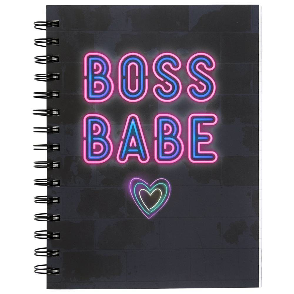 Image of Lined Journal Neon Sign Spiralbound Boss Babe - Top Flight