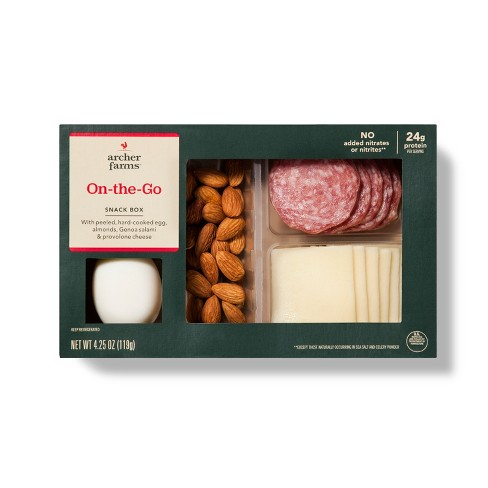 On-The-Go Snack Box With Boiled Eggs, Almonds, Genoa Salami & Provolone Cheese - Archer Farms™ - image 1 of 1