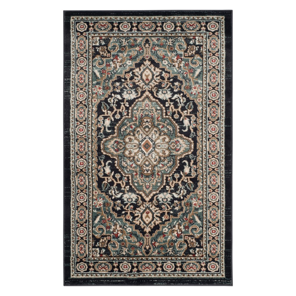 33X53 Medallion Loomed Accent Rug Anthracite/Teal - Safavieh Promos