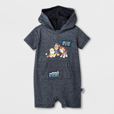 Baby Boys' PAW Patrol Hooded Short Sleeve Romper - Navy 6-9M