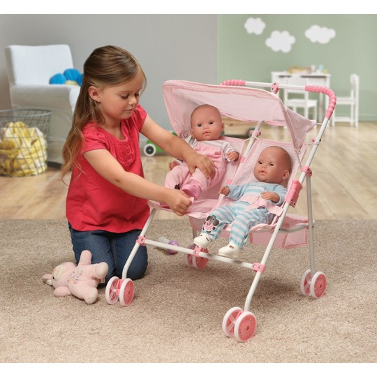 Badger Basket Double Doll Side-by-Side Umbrella Stroller - Pink & White Gingham image number null