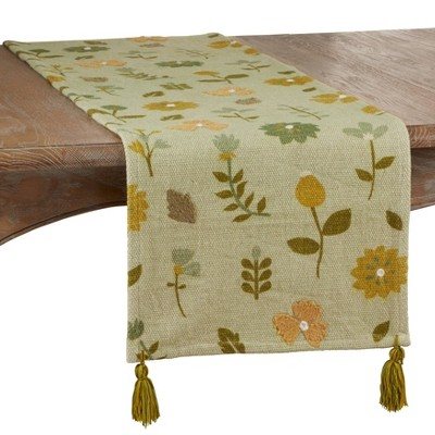 """72"""" x 16"""" Cotton Embroidered Floral Table Runner Green - Saro Lifestyle"""