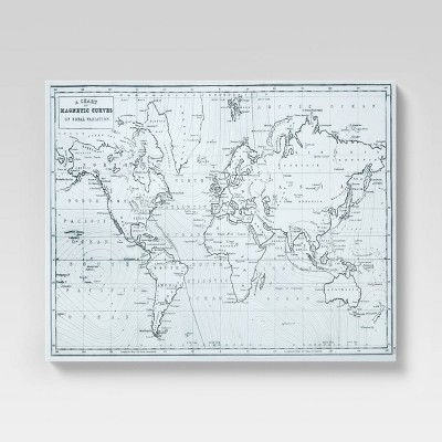 "24"" x 30"" Hand Drawn World Map Unframed Canvas - Threshold™"