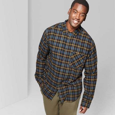 Men's Big & Tall Checkered Standard Fit Flannel Button-Down Shirt - Original Use™ - image 1 of 3