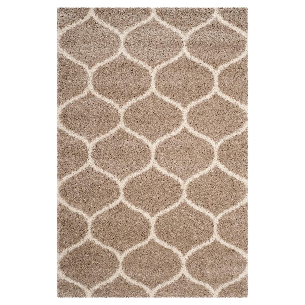 Beige/Ivory Abstract Shag/Flokati Loomed Area Rug - (8'X10') - Safavieh