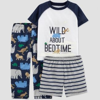 Toddler Boys' 3pc Poly Wild About Bedtime Pajama Set - Just One You® made by carter's Navy/Gray/White 3T