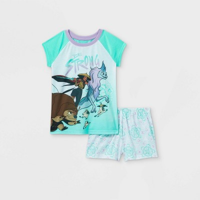 Girls' Disney Raya 'Be Strong' 2pc Pajama Set - Green/White