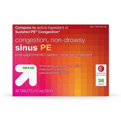 Sinus PE Non-Drowsy Congestion Relief Tablets - 36ct - up & up™