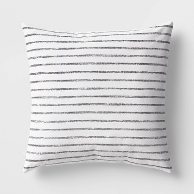 Square Striped Pillow Black/White - Room Essentials™