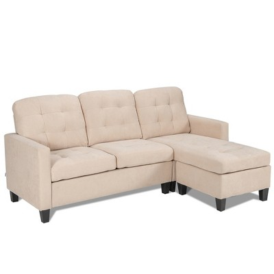 Costway  L-shaped Convertible Sectional Sofa Couch with Reversible Chaise Grey\Beige