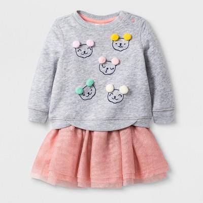 Baby Girls' 2pc Fleece Sweatshirt and Tutu Skirt Set - Cat & Jack™ Nectar 12M