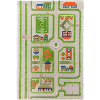 IVI World 3D Play Carpet 59 x 39-inch Educational Green Traffic Soft Floor Rug Mat for Bedroom, Kids Den, or Playroom, Medium